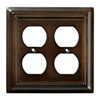 Liberty Hardware 126380, Double Duplex Wall Plate, Espresso, Wood Architectural