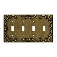 Liberty Hardware 126383, Quad Switch Wall Plate, Burnished Antique Brass, French Lace