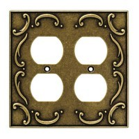Liberty Hardware 126384, Double Duplex Wall Plate, Burnished Antique Brass, French Lace