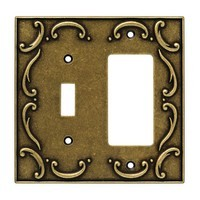 Liberty Hardware 126387, Single Switch/Decorator Wall Plate, Burnished Antique Brass, French Lace
