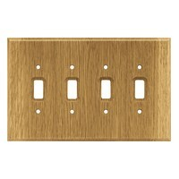 Liberty Hardware 126431, Quad Switch Wall Plate, Medium Oak, Wood Square