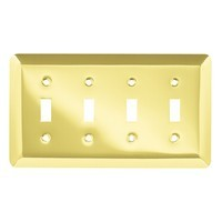Liberty Hardware 126530, Quad Switch Wall Plate, Polished Brass, Stamped Round