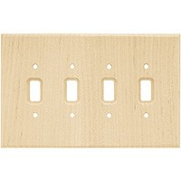 Liberty Hardware 126797, Quad Switch Wall Plate, Unfinished Wood, Wood Square