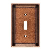 Liberty Hardware 135764, Single Switch Wall Plate, Sponged Copper, Ruston