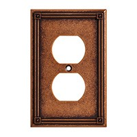 Liberty Hardware 135766, Single Duplex Wall Plate, Sponged Copper, Ruston