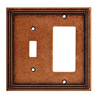 Liberty Hardware 135771, Single Switch/Decorator Wall Plate, Sponged Copper, Ruston
