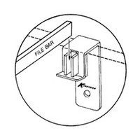 Kinetron KHFB-500-ZC, Pendaflex Bracket for 1/2 Thick Drawer Sides, Zinc