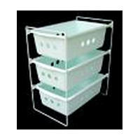 Washington 104, 11-1/2 Vegetable Pull-Out Baskets, Washington Products Series, White Wire, Single Basket, 11-1/2 W x 17-3/4 D x 6-3/8 H