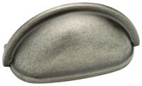 Liberty Hardware 39613PI, Cup Pull, Centers 3in, Tumbled Pewter