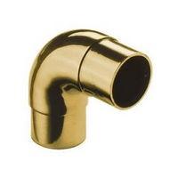 Lavi 00-731/1H, Bar Railing Fitting, Radius Ell Flush Fitting, Solid Brass, 2-7/8 W x 2-7/8 L, Fits Railing dia.: 1-1/2, Bright Brass