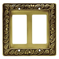 Liberty Hardware 64038, Double Decorator Wall Plate, Tumbled Antique Brass, Paisley