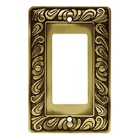Liberty Hardware 64047, Single Decorator Wall Plate, Tumbled Antique Brass, Paisley