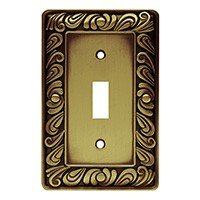 Liberty Hardware 64049, Single Switch Wall Plate, Tumbled Antique Brass, Paisley