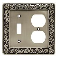 Liberty Hardware 64050, Single Switch/Duplex Wall Plate, Brushed Satin Pewter, Paisley