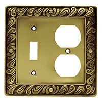 Liberty Hardware 64051, Single Switch/Duplex Wall Plate, Tumbled Antique Brass, Paisley