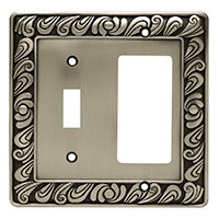Liberty Hardware 64052, Single Switch/Decorator Wall Plate, Brushed Satin Pewter, Paisley