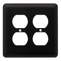 Liberty Hardware 64074, Double Duplex Wall Plate, Flat Black, Stamped Round