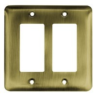 Liberty Hardware 64079, Double Decorator Wall Plate, Antique Brass, Stamped Round
