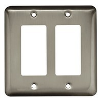 Liberty Hardware 64083, Double Decorator Wall Plate, Satin Nickel, Stamped Round