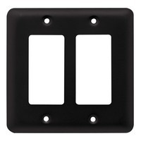 Liberty Hardware 64085, Double Decorator Wall Plate, Flat Black, Stamped Round