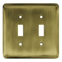 Liberty Hardware 64089, Double Switch Wall Plate, Antique Brass, Stamped Round