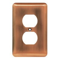 Liberty Hardware 64112, Single Duplex Wall Plate, Antique Copper, Stamped Round