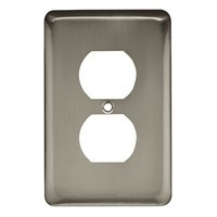 Liberty Hardware 64115, Single Duplex Wall Plate, Satin Nickel, Stamped Round