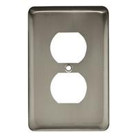 Liberty Hardware 64115, Single Duplex Wall Plate, Satin Nickel, Stamped Round