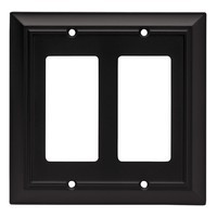 Liberty Hardware 64211, Double Decorator Wall Plate, Flat Black, Architectural