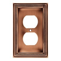 Liberty Hardware 64244, Single Duplex Wall Plate, Aged Brushed Copper, Beaded