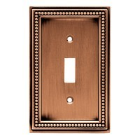 Liberty Hardware 64245, Single Switch Wall Plate, Aged Brushed Copper, Beaded