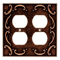 Liberty Hardware 64258, Double Duplex Wall Plate, Sponged Copper, French Lace