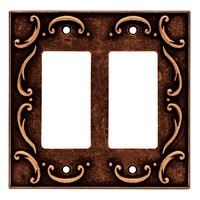 Liberty Hardware 64260, Double Decorator Wall Plate, Sponged Copper, French Lace