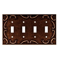 Liberty Hardware 64264, Quad Switch Wall Plate, Sponged Copper, French Lace