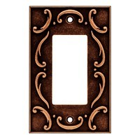 Liberty Hardware 64277, Single Decorator Wall Plate, Sponged Copper, French Lace