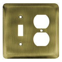 Liberty Hardware 64354, Single Switch/Duplex Wall Plate, Antique Brass, Stamped Round