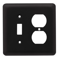 Liberty Hardware 64360, Single Switch/Duplex Wall Plate, Flat Black, Stamped Round
