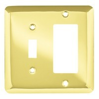 Liberty Hardware 64364, Single Switch/Decorator Wall Plate, Polished Brass, Stamped Round