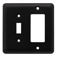 Liberty Hardware 64371, Single Switch/Decorator Wall Plate, Flat Black, Stamped Round