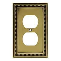 Liberty Hardware 64400, Single Duplex Wall Plate, Tumbled Antique Brass, Beaded