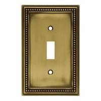 Liberty Hardware 64401, Single Switch Wall Plate, Tumbled Antique Brass, Beaded