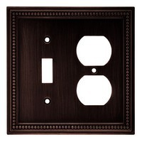 Liberty Hardware 64406, Single Switch/Duplex Wall Plate, Venetian Bronze, Beaded