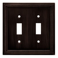 Liberty Hardware 64409, Double Switch Wall Plate, Venetian Bronze, Beaded