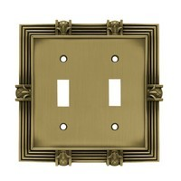 Liberty Hardware 64470, Double Switch Wall Plate, Tumbled Antique Brass, Pineapple