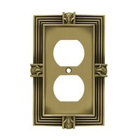 Liberty Hardware 64472, Single Duplex Wall Plate, Tumbled Antique Brass, Pineapple