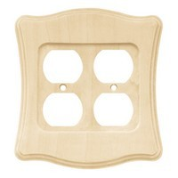 Liberty Hardware 64628, Double Duplex Wall Plate, Unfinished Wood, Wood Scalloped