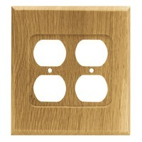 Liberty Hardware 64649, Double Duplex Wall Plate, Medium Oak, Wood Square
