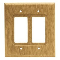 Liberty Hardware 64654, Double Decorator Wall Plate, Medium Oak, Wood Square
