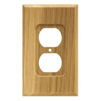 Liberty Hardware 64665, Single Duplex Wall Plate, Medium Oak, Wood Square