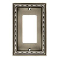 Liberty Hardware 64778, Single Decorator Wall Plate, Brushed Satin Pewter, Beaded
